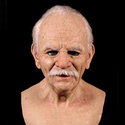 Homthia Another Me | The Elder Old Man Chinless Mask | Headgear for Masquerade Halloween Party Realistic Decor Costumes Old Men Latex Mask (with Hair)