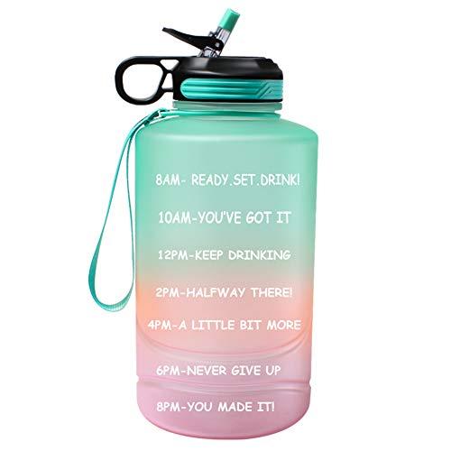 Case Wonder Botella de agua de galón de con marcador de tiempo y pajita, 74 onzas jarra de agua motivacional sin BPA con asa para fitness , gimnasio y deportes al aire libre