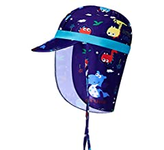 Baby Sun Hat,Neck Protect for 1-9 Years Summer Girls Hat Funnycokid Toddler Sun Hat Comhats UPF 50 Anti-UV Funny Pattern Adjustable Boys Cat