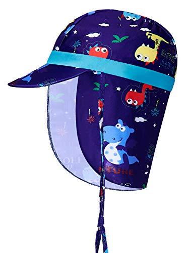 Kinder Bayby Mütze Dinosaurier Grafik UPF 50+ Anti-UV Unisex verstellbare Jungen Katze, Sommer Mädchen Hut, Baby Sonnenhut, Nackenschutz für 1-9 Jahre