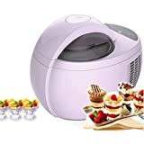 Hefacy Máquina automática de sorbete de helado, máquina de helado de alta capacidad de 1 L, fácil de limpiar, simple