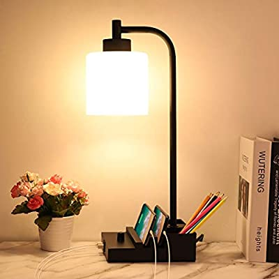 Industrial Table Lamp, Fully Dimmable Bedside Lamps with USB Ports & Phone Stand Stepless Rotary White Frosted Glass Nightstand lamp for Bedroom, Living Room, Office