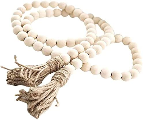 4 years warranty Natural Wood Bead Garland Set Farmhouse with Tassels Pray New mail order Beads