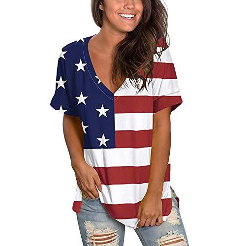 Camiseta de verano para mujer, parte superior de manga corta, informal, cuello en V y monocolor, camisa para mujer, adolescente, niña, cuello en V, holgada, holgada.