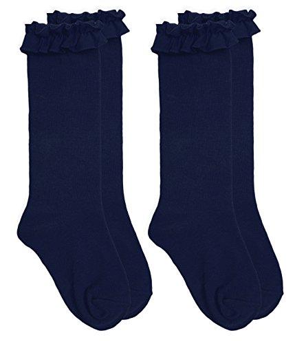 Jefferies Socks Girls School Uniform Ruffle Knee High Socks 2 Pair Pack (S - USA Shoe 9-1 - Age 3-7 Years, Navy)