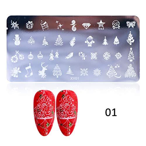 CING vriendelijke Manicure Nagel Art Stempel Borden Kerstmis Afbeelding Stencils Nagel Stempelen Sjabloon XY01