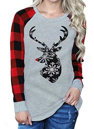 Women Christmas Reindeer Snowflake Print Plaid Raglan Long Sleeve T-Shirt Christmas Xmas Gift Tops Blouse Size L (Grey)