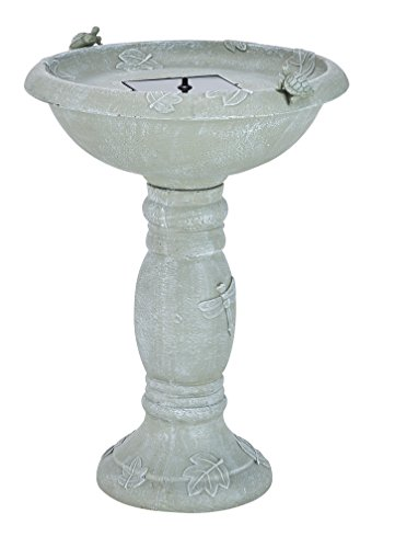 Smart Solar 20622R01 Country Gardens Solar Birdbath Fountain, Gray Weathered Stone Finish, Designed for Low Maintenance and Requires No Wiring or Operating Costs