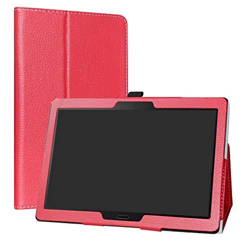 """Labanema Lenovo Tab M10 HD Funda, Slim Fit Carcasa de Cuero Sintético con Función de Soporte Folio Case Cover para Lenovo Tab M10 HD (TB-X505F,TB-X605F) / Smart Tab P10 (TB-X705F) 10.1"""" Tablet - Roj"""