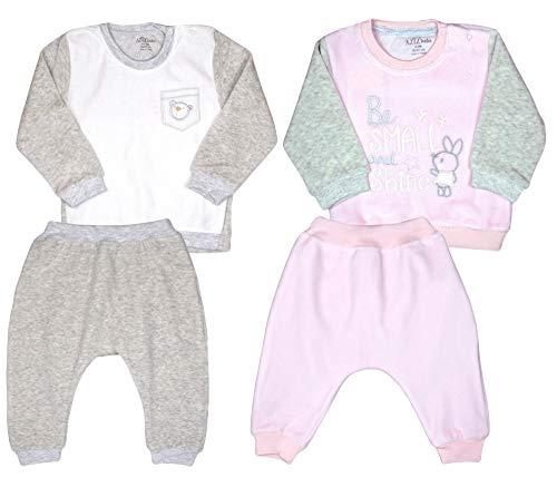 Aziz bebe Babybekleidung Oberteil und Hose Mädchen Jungen Zweiteiliger Anzug Bekleidungssets Babyanzug Neugeboren Fleece Sweatshirt Unisex (86-92, Rosa-grau (S 1015))