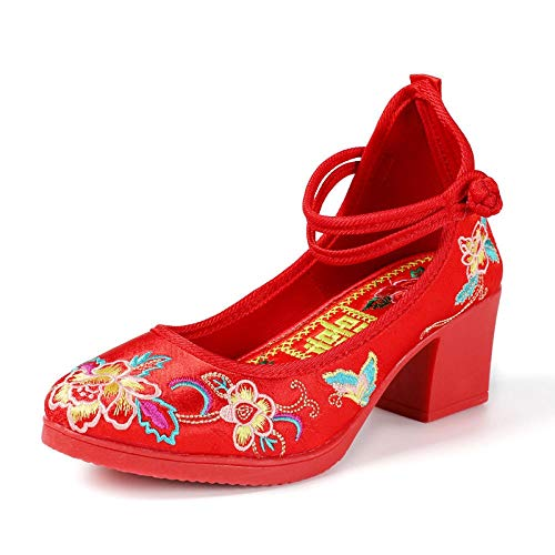 RHH Shop Red Shoes on Sedan Shoes Chinese Wedding mid-Heeled Wedding Shoes (Color : 1  Size : 7)