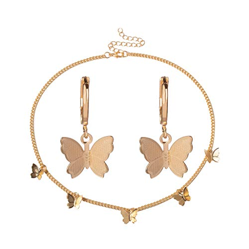 Women's Jewelry Gift Vintage Metal Gold Butterfly Chain Lock Necklace Earring
