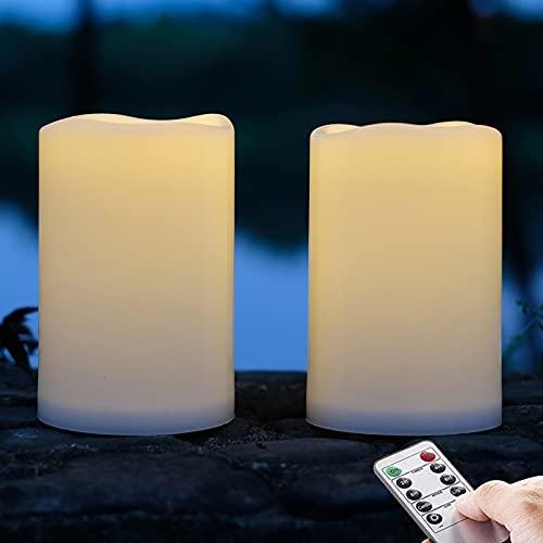 2 piezas Led velas impermeables al aire libre, vela de plástico con batería con función de control remoto / temporizador (luz blanca cálida) - 10cm X 15cm