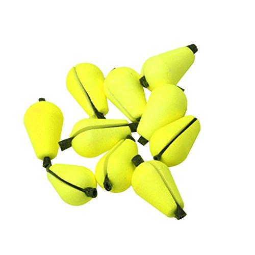 perfk 6 Stücke Bissanzeiger Wassertropfen Förmig Bobber - Fliegenfischen Zubehör Gelb