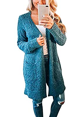 ZESICA Women's Casual Long Sleeve Open Front Soft Chunky Knit Sweater Cardigan Outerwear with Pockets,Teal,Large