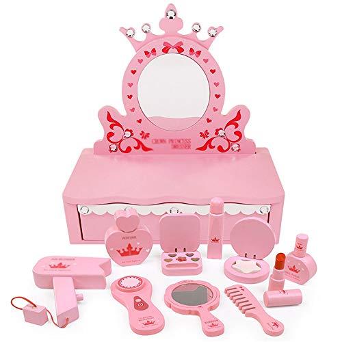HUDEMR Coiffeuses de Chambre à Coucher Maquillage for Enfants en Bois Jouets Simulation Jouer Maison Dresser Fille Princesse Cosmetics Gift Set Meubles pour Enfants (Color : Pink, Size : 10x36x27cm)