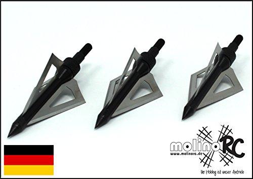 molinoRC 3X Pfeilspitze für Jagd | schwarz | Alu und Edelstahl | Bogenschießen Armbrust | Pfeil und Bogen BRD | treffsicher und stark