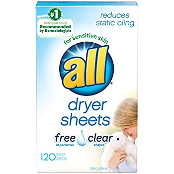 All Fabric Softener Dryer Sheets for Sensitive Skin Free Clear 120 Count