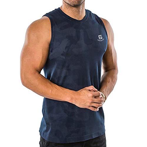 Samy タンクトップ メンズ トレーニング ノースリーブ ボディビル 筋トレ Tシャツ トレーニング スポーツウェア トップス 大きなサイズ BX-0121 ネイビー迷彩 L
