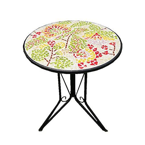 XIAOLIN Retro Marmorparkett Runder Tisch - Schmiedeeiserne Gartentisch-Balkon Mosaik-Tisch Outdoor Distressed Akzent Tischdekor 23.6x28,7 Zoll(Color:01)