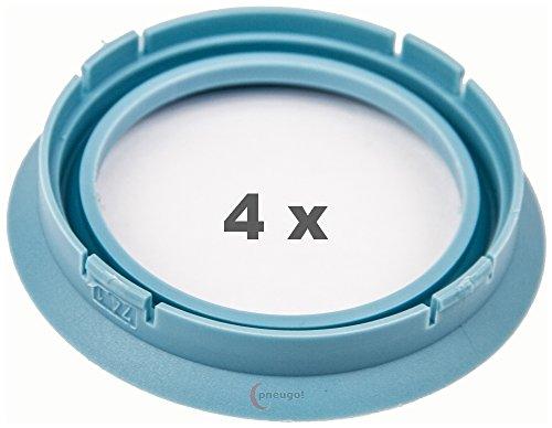 4 x pneugo! Bagues de centrage pour jantes alu 74.1 mm - 56.6 mm