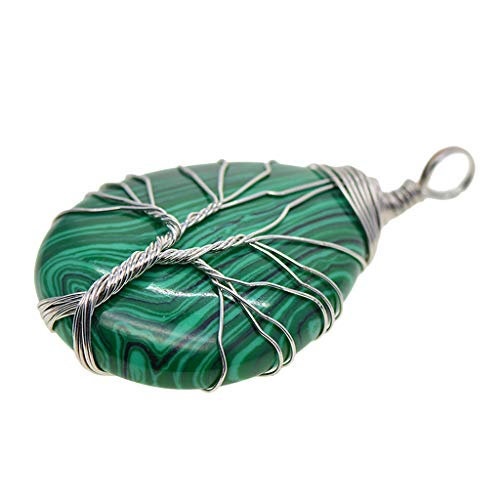 LOVIVER Tree of Life Necklace Brass Wired Gemstone Charms Jewelry - Malachite silver