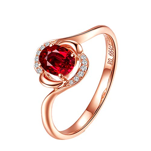 YCGEMS Dames 18 karaat roségoud 4 klauwen, ronde 0,03 karaat diamant en ovaal rood 0,6 karaat robijn-verlovingsring
