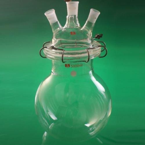 Reactor de química de laboratorio con tapa y abrazadera, 5 L, vidrio 24/29