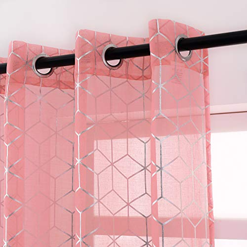 Taisier Home Diamond Sheer Pink Curtains 84-Inch Length - Metallic Silver Foil Print Curtain Panels Geometric Pattern Printed Grommet Curtains for Bedroom Girls, 52 x 84 Inch, 2 Panels,Pink and Silver