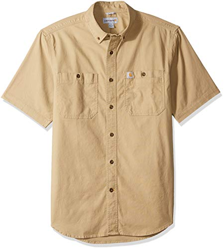 Carhartt Men's Rugged Flex Rigby Short Sleeve Work Shirt, Dark Khaki, Large