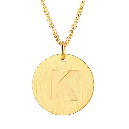 Suplight Damen Kette mit Anhänger Buchstaben K Namenkette 18k vergoldet Alphabet Anfangsbuchstabe Münzen Kette Fashion Initiale Modeschmuck Accessoire tolles Geschenk für Geburtstag Jahretag