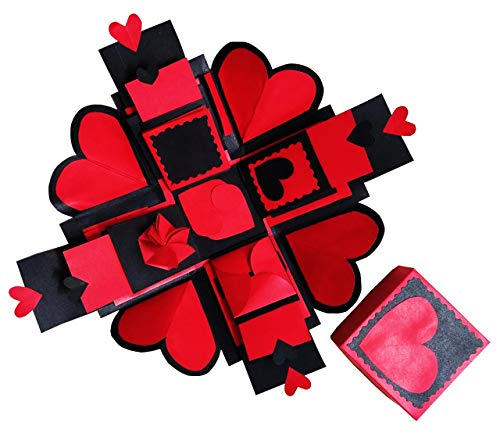 Phirki Studio Explosion Box for Valentine's Day, Birthday or Anniversary, Gift Box for Any Occasion Greeting Card (RED and Black,...