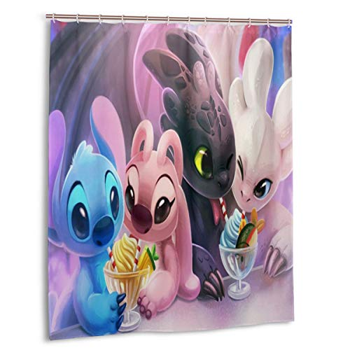 Yuange Stitch and Angel Shower Curtain Lined with Waterproof Polyester Fabric Shower Curtain Fabric Shower Curtain 12 Hook 60 X 72 Inch