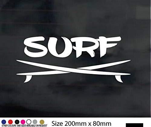 myrockshirt Texto Surf con 2 tablas de surf, 20 x 8 cm, autoadhesivo, calidad profesional, sin fondo, resistente a los rayos UV y al túnel de lavado