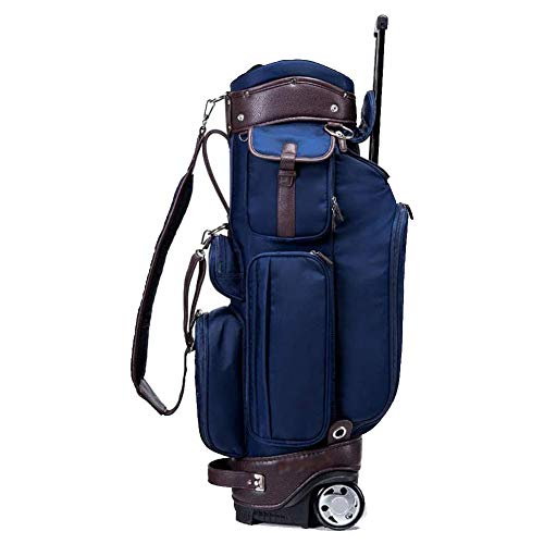 Golf Trolley Bags, Ultralight Unisex's Golf Club Stand Carry Trolley Bag with Wheels, Men's Large Capacity Golf Cart Bag,6-Way Divider