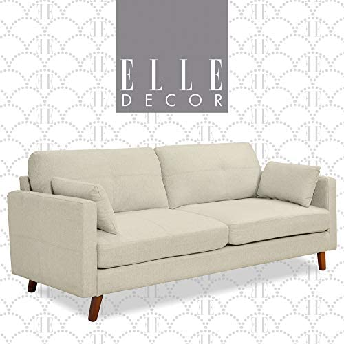 Best Elle Decor Alix Upholstered Living Room Sofa, Tufted Fabric Couch, Mid-Century Walnut Tapered Footer