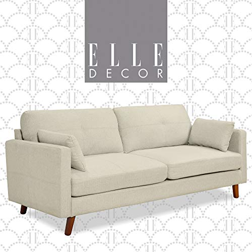 Elle Decor Alix Upholstered Living Room Sofa, Tufted Fabric Couch, Mid-Century Walnut Tapered Footers, 78' Sofa, Ivory White