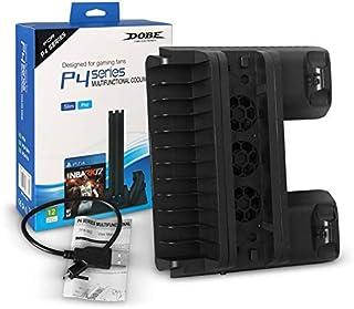 Nowakk Soporte de refrigeración multifunción, radiador refrigerado, Soporte para CD, Cargador Doble, Accesorios para Consola de Juegos, para la Serie PS4