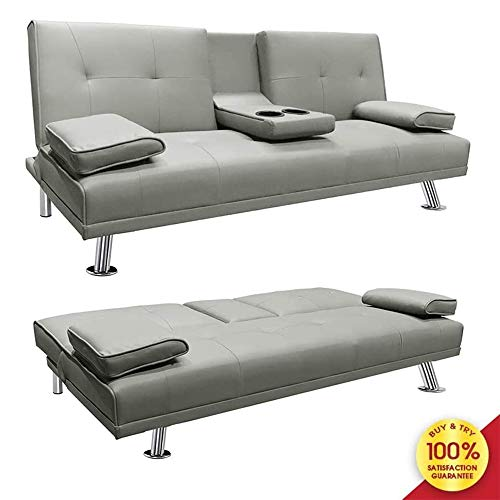 LinkRomat Modern Sofa Faux Leather Futon Sofa Bed Sleeper Sofa Living Room Convertible Sofa with Armrest Home Recliner Couch Metal Legs Cup Holders Home Furniture Gray
