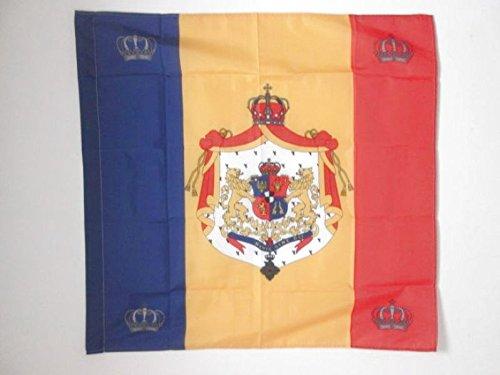 AZ FLAG Flagge KÖNIGLICHE STANDARTE VON RUMÄNIEN 1881-1946 90x90cm - RUMÄNISCHE Fahne 90 x 90 cm Scheide für Mast - flaggen Top Qualität