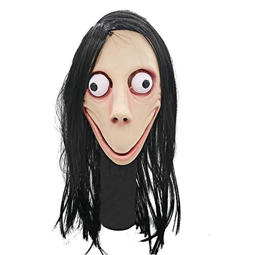 presentimer Full Face Death Game Momo Máscara Festiva Disfraz de Cosplay Fiesta de Halloween Mascarada Accesorios cómodo Olor Suave y no irritante