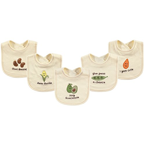 Touched by Nature Unisex Baby Organic Cotton Bibs, Guacamole, One Size