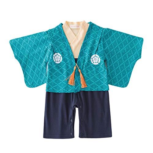 Happyyami Bebé Kimono japonés recién Nacido Bata de algodón Pijama japonés Mameluco Pieza Traje Ropa Mameluco con Abrigo Azul Adecuado para los niños de 3 a 6 Meses