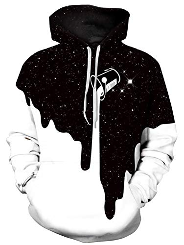 TUONROAD Hoodie Hombre Funny Leche 3D Impreso Blanco Sudaderas con Capucha Ligero Unisex Sweatshirt Confortable Pullover Colorido Manga Larga Sweater Hoody con Bolsillos Cordón S-M