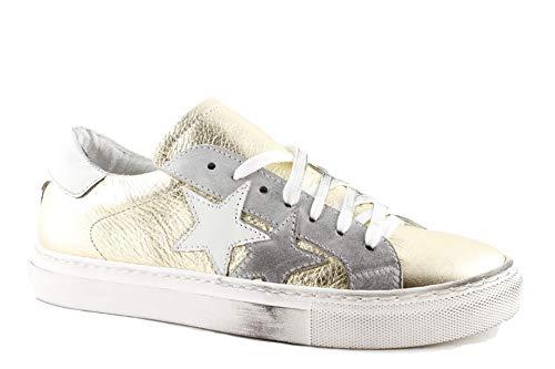 Sneakers Donna in Pelle Basse Bianche e Oro Vintage Estive Ultimi Arrivi Casual Moda Made in Italy (38 EU, Oro)