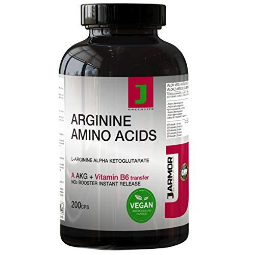 Arginina AKG Integratore Pillole + Vitamina B6 | 200 Capsule | Aminoacido Puro Per Massa e Crescita Muscolare Vigore Fisico e Mentale | Precursore del