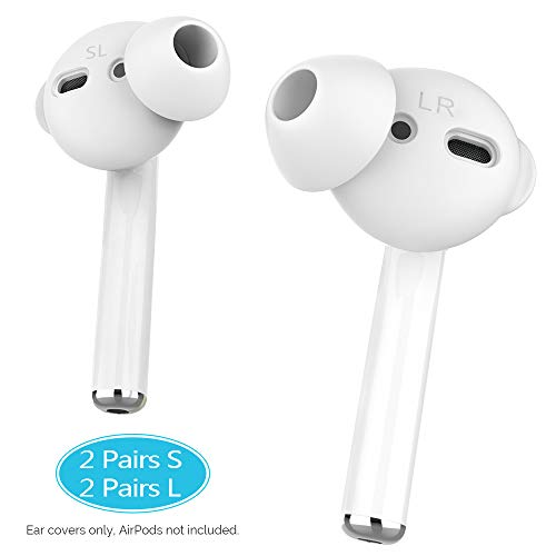 AhaStyle 4 Pairs Earbuds Cover Anti-Slip Ear Tips Silicone Compatible with Apple AirPods 2 & 1 or EarPods-【Not Fit in The Charging Case】 (2 Pair Large & 2 Pairs Small, White)