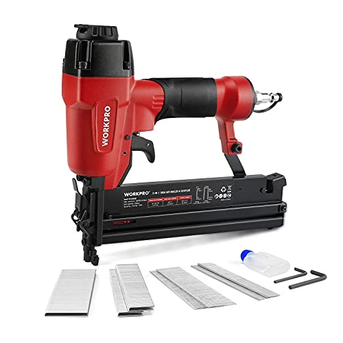 WORKPRO Pneumatic Brad Nailer, 18 GA, 2 in 1 Nail Gun and Crown Stapler, with 400pcs Nails/ 300pcs Staples, for Carpentry, DIY Project, Upholstery and Woodworking