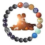 Karseer Buddha Chakra Bracelet 8mm Lava Rock Beads Bracelet with Solar System Planet Meditation Gemstone Beads Aromatherapy Essential Oil Diffuser Miniverse Galaxy Bracelet Friendship Gift Unisex