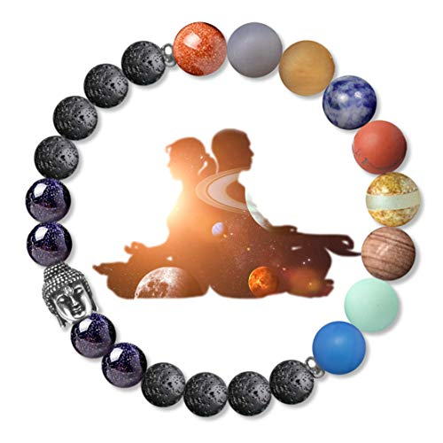 Karseer Buddha Chakra Bracelet 8mm Lava Rock Beads Bracelet with Solar System Planet Meditation Gemstone Beads Aromatherapy Essential Oil Diffuser Miniverse Galaxy Bracelet Friendship Gift Unisex